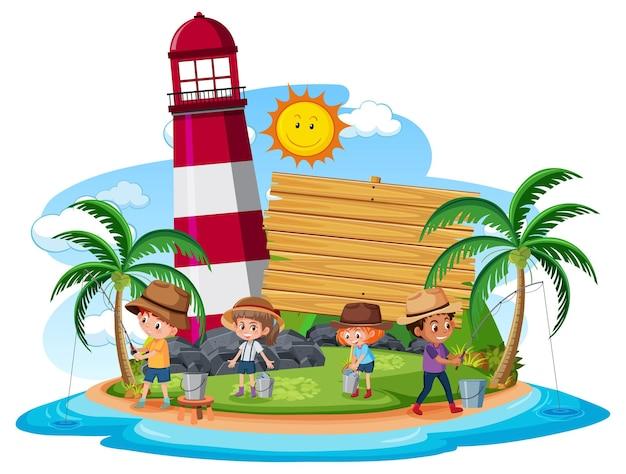 Leere bannervorlage mit kindern, die am strand auf weißem hintergrund fischen