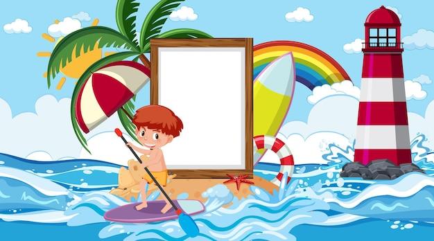 Leere bannervorlage mit kindern im urlaub an der strandtagesszene