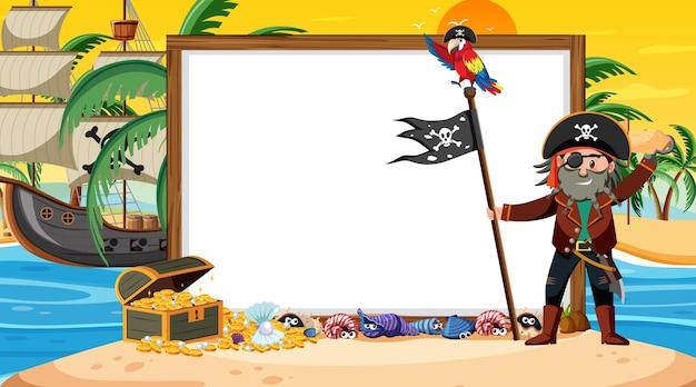 Leere bannervorlage mit piratenkapitän an der strandsonnenuntergangszene