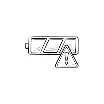 Leere batterie mit ausrufezeichen handgezeichnete umriss-doodle-symbol. konzept mit geringer ladung, entladener batterie