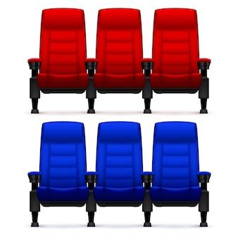 Leere bequeme stühle des kinos. realistische film sitzt vektorillustration