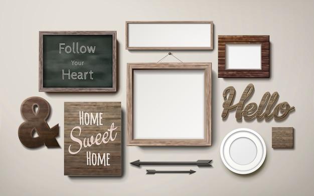 Leere bilderrahmen dekoration in verschiedenen formen und tafel hängen an der wand, 3d-illustration in realistischem stil
