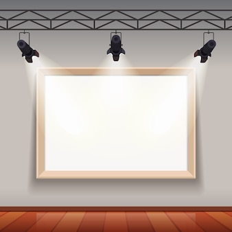 Leere bilderrahmen in kunstmuseum raumhalle