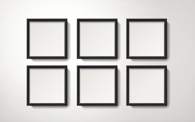 Leere bilderrahmensammlung, die auf geordnete weise an der wand hängt, realistischer stil der 3d-illustration