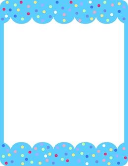 Leere blaue lockenrahmenkartenschablone