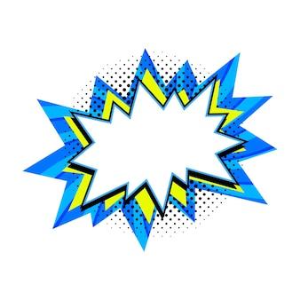 Leere blaue und gelbe knall-sprechblase im pop-art-stil.