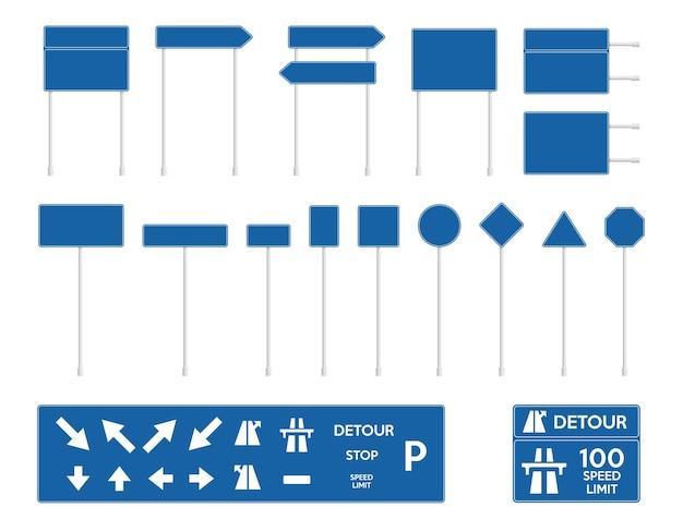 Leere blaue verkehrszeichen set europäischer verkehrszeichen sammlung temporäre verkehrszeichen