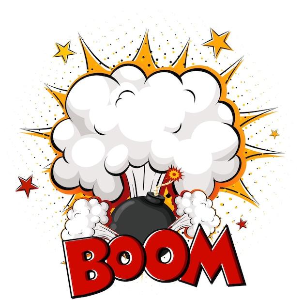 Leere boom-comic-sprechblase auf weiß