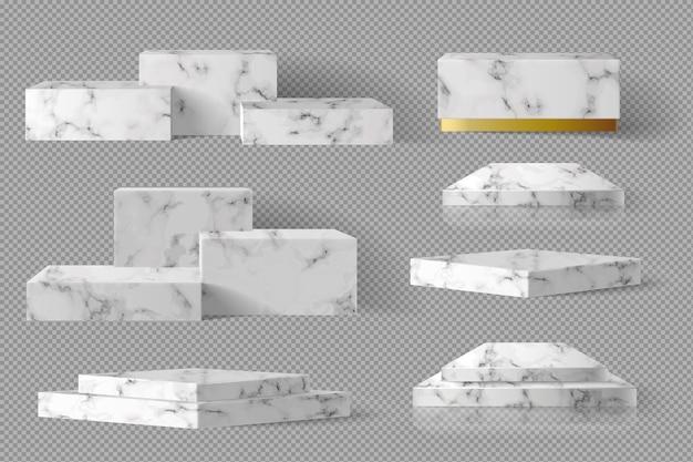 Leere box quadratischen block marmor vorlage mit schatten gesetzt. konzept podium bühne showcase