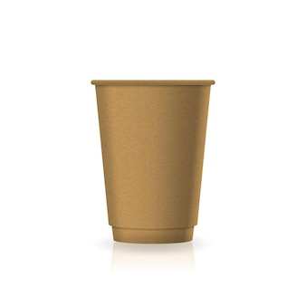 Leere braune kaffee-tee-tasse aus kraftpapier in mittelgroßer modellvorlage. isoliert auf weißem hintergrund mit reflexionsschatten. gebrauchsfertig für markendesign. vektor-illustration.