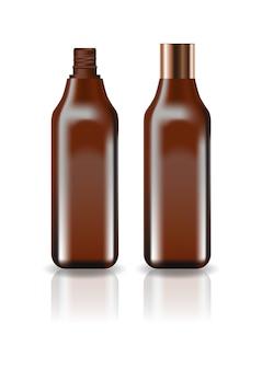 Leere braune kosmetische quadratische flasche mit schraubdeckel.
