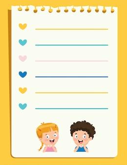 Leere briefpapiere für kindererziehung