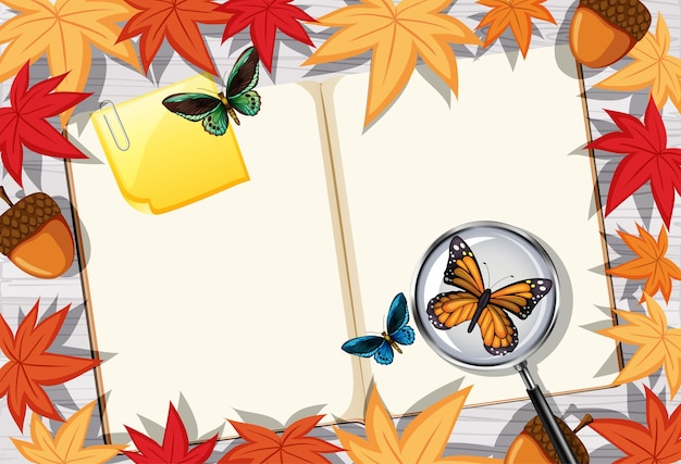 Leere buchseite auf büroarbeitstisch-draufsicht mit blättern und insektenelement