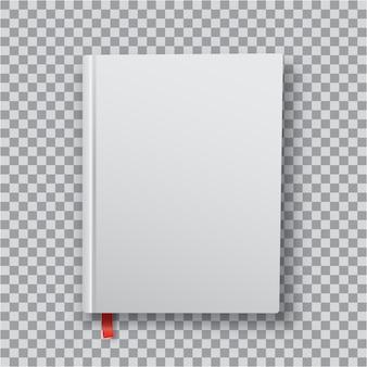 Leere buchvorlage 3d mit weißem einband auf transparentem