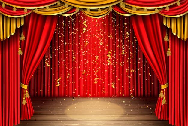 Leere bühne mit rotem vorhang und fallendem konfetti