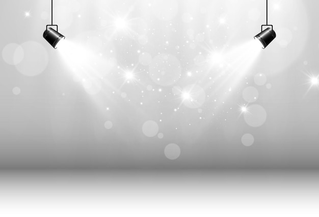 Leere bühne mit strahlern beleuchtungskörper auf transparent