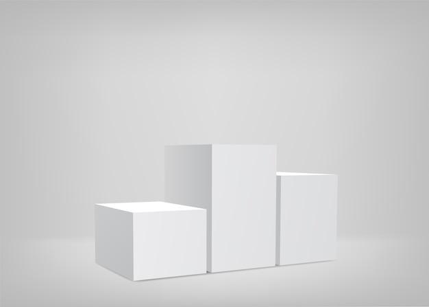 Leere bühne. weißer hintergrund. podium zur präsentation.