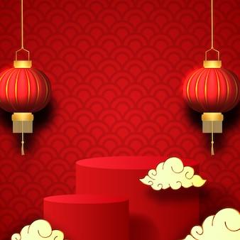 Leere bühnenproduktanzeige für chinesisches neujahrsverkaufsangebot mit traditioneller 3d-laterne
