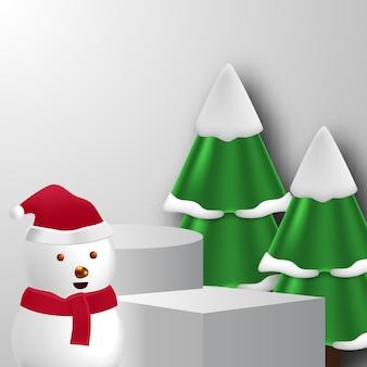 Leere bühnenwürfelzylinder-podest-produktanzeige für weihnachten oder winter mit schneemann, kiefer und weißer hintergrundfarbe