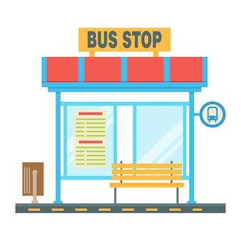Leere bushaltestelle mit dem verkehrsschema und dem stoppschild. flache vektorillustration.
