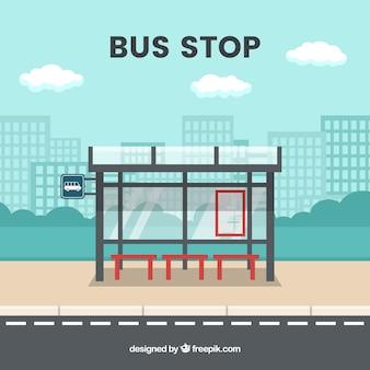Leere bushaltestelle mit flachem design