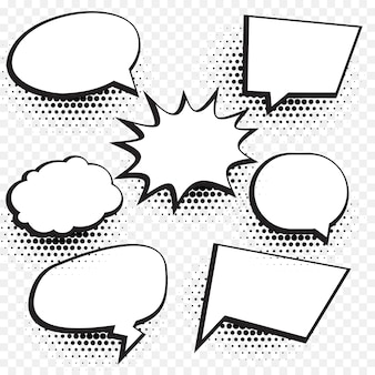 Leere comic-chat-blase und element hintergrund mit halbton-effekt gesetzt