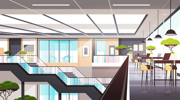 Leere coworking space interior moderne intelligente arbeitsbüro kreative offene raum horizontale vektor-illustration