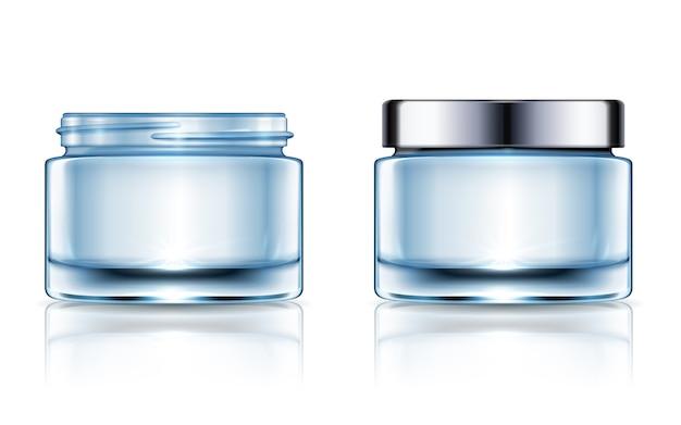 Leere cremefarbene gläser eingestellt, blaue kosmetikbehälterschablone lokalisiert auf weißem hintergrund in der illustration