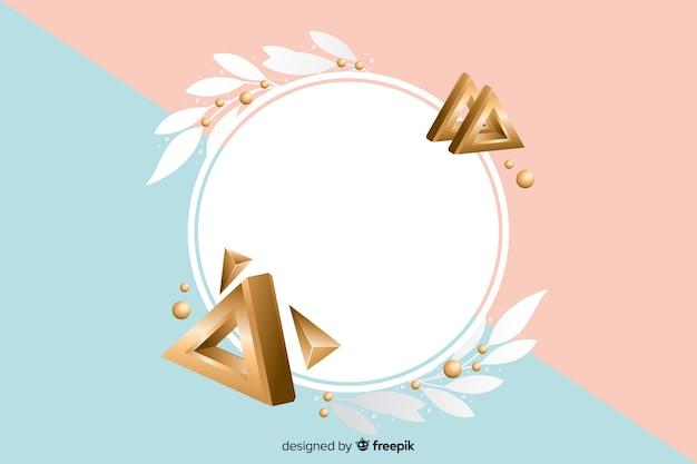 Leere fahne mit geometrischen formen im effekt 3d