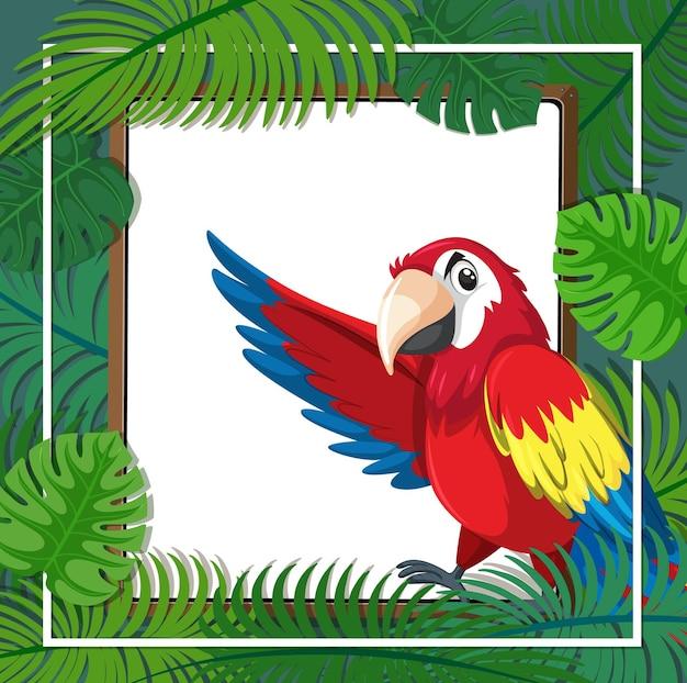 Leere fahne mit tropischem blattrahmen und papageienvogelzeichentrickfilm-figur