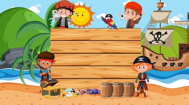 Leere fahnenschablone mit piratenfrau an der strandtagesszene