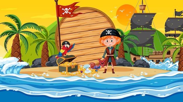 Leere fahnenschablone mit piratenmädchen an der strandsonnenuntergangszene