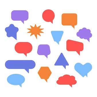 Leere farbsprechblasen und sprechblase für kommentarsymbol verschiedene sprechblasen