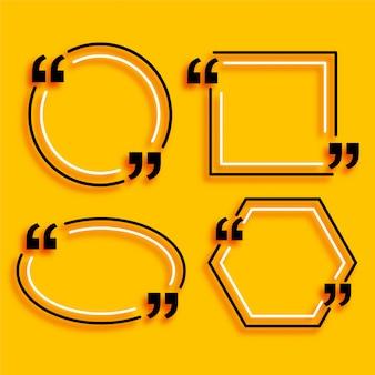 Leere felder mit vier geometrischen linienstilzitaten Kostenlosen Vektoren