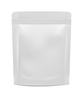 Leere folie essen oder trinken doypack. illustration lokalisiert auf weißem hintergrund.