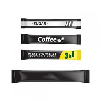 Leere folienbeutel-set-verpackung für lebensmittel, zucker, kaffee, salz, pfeffer, gewürze, schwarze plastikverpackung