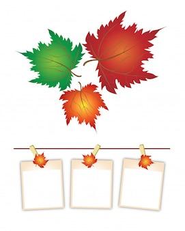 Leere fotos mit den ahornblättern, die an der wäscheleine hängen