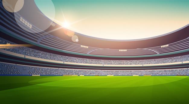 Leere fußballstadion feldansicht sonnenuntergang flach horizontal