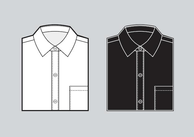 Leere gefaltete hemdschablone der männer. zwei hemden eingestellt. schwarze und weiße hemden. vektor