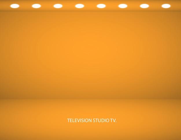 Leere gelbe farbe produktschaufenster. studio zimmer hintergrund. wird als hintergrund für die anzeige ihres produkts verwendet