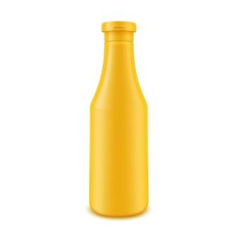 Leere gelbe senfflasche aus kunststoff für das branding ohne etikett auf weißem hintergrund