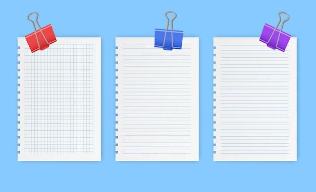 Leere gerasterte notizbuchblätter mit linien und quadraten für memo