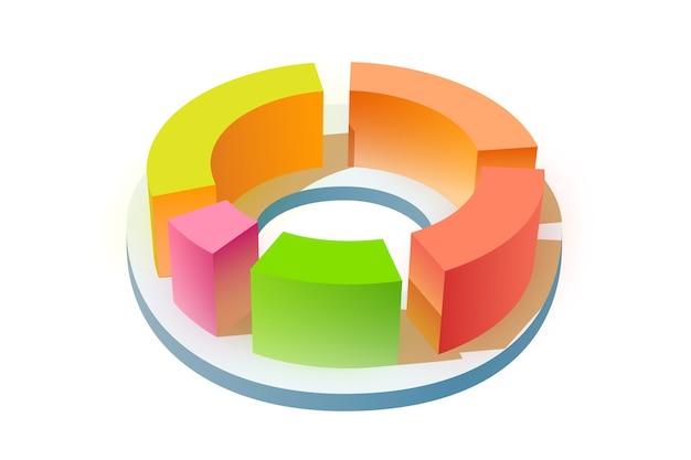 Leere geschäftsvorlage der infografik mit buntem 3d-runddiagramm auf weiß lokalisiert