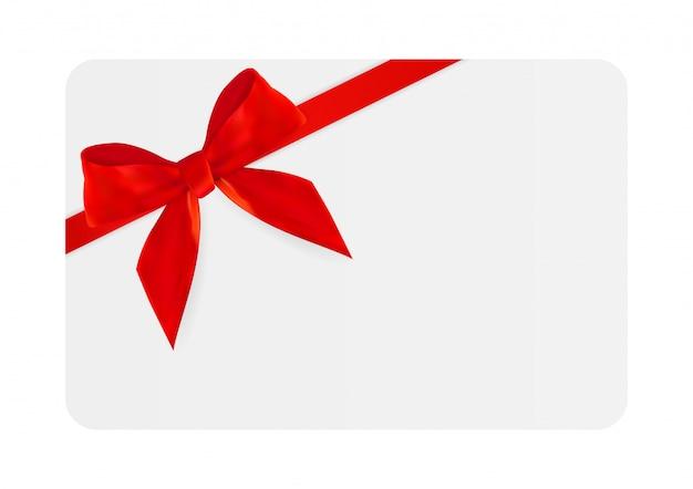 Leere geschenk-karten-schablone mit rotem bogen und band