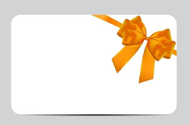 Leere geschenkkartenvorlage mit orangefarbener schleife und band. illustration für ihr geschäft eps10