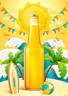 Leere glasflasche am strand aus hellem ton und plastilin