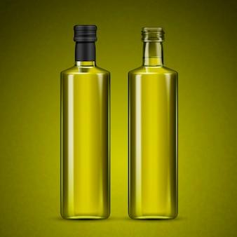 Leere glasflaschen mit flüssigkeit innerhalb der isolierten olivgrünen hintergrund 3d illustration