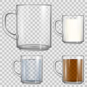 Leere glasschale lokalisiert auf transparentem hintergrund. becher voll mit tee, wasser und milch.