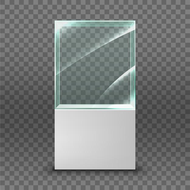 Leere glasvitrine für die ausstellung. illustration isoliert auf transparentem hintergrund