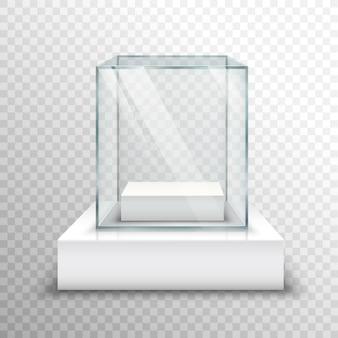 Leere glasvitrine transparent